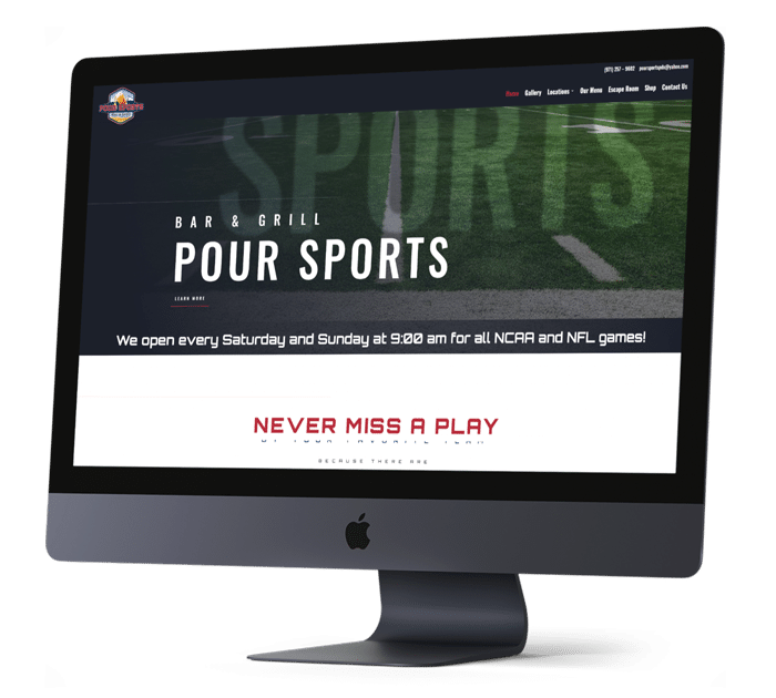 Happy Valley Website Design for Pour Sports Bar & Grill