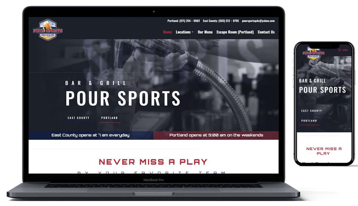 New website design for Poursports PDX by Hood West Design